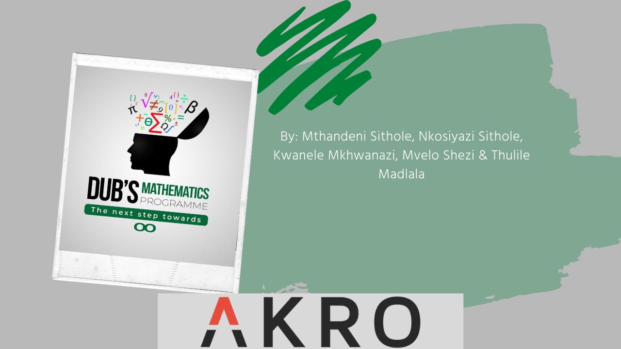 Dub's Mathematics Programme